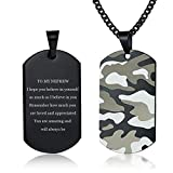 LiFashion to My Nephew Necklace for Men Boys,Stainless Steel Personalized Camo Navy Army Dog Tag Sentiment Motivational Inspired Engraved Pendant Nephew's Necklaces from Uncle Aunt Gift