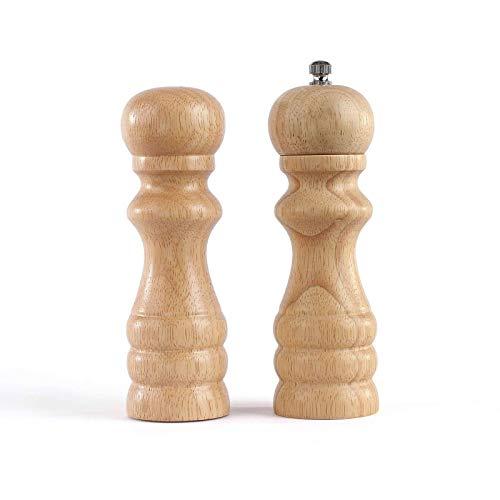 Pepermolen hout zoutstrooier kruidenmolen peper en zout set van 2 (keramische maalwerk, hoogte 16,5 cm, ongevuld en navulbaar)
