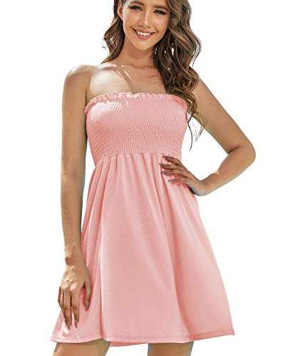 AS ROSE RICH Women's Strapless Bathing Suit Coverups Elastic Ruched Tube Top Beach Mini Dress Medium A.Blossom