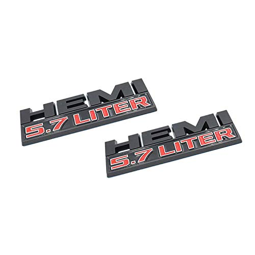 HAOXUAN 2 uds 3D Hemi 5,7 LITRO Letra Logo Fender Trunk Badge Pegatina de Ajuste para Chr-ysler Do-dge Chall-Enger Cha-rger SRT RAM,Negro