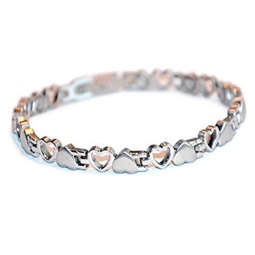 Elegant hart design tennis magneetarmband zilver gepolijst Energetix-4you 8232 Coracao Heart Coeur S-XL