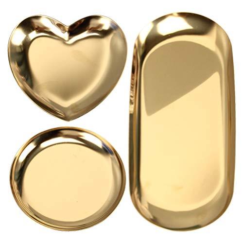 Cabilock 3 unidades de anillos de acero inoxidable dorados, bandeja de almacenamiento, platos, bandeja de té, bandeja de frutas, cosméticos, joyas, organizador, decoración del hogar, regalo de boda