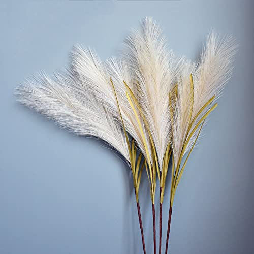 4Pcs Pampas Grass Large Decorative Artificial Flowers Indoors Fluffy Faux Flora Plants 100cm Tall Swingers Grass Bouquet Boho Home Decor Accessories (Vase is not included)