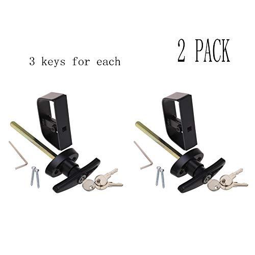 Shed Lock Allen Wrench Square Bit 2 Screws 5-1//2 Stem Shed Door T-Handle Lock Kit Includes 2 Keys Black Barn Door Lock Playhouse Lock /& Chicken Coop Lock Longer 5-1//2 Stem