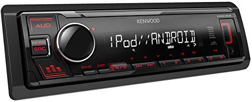 KENWOOD KMM-205 Receptor Multimedia para Coche 1 DIN | Radio para Coche con entradas Frontales AUX Jack 3.5. y USB Compatibles con Dispositivos Apple y Android. Sintonizador de Radio RDS.