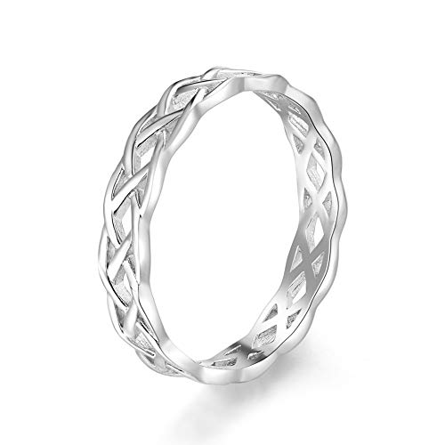 QUINPONY 925 Sterling Silver Eternity Celtic Knot Wedding Ring Comfort Fit Size 4-12 (8)