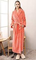 男性と女性のための豪華なソフビぬいぐるみローブ、ショールカラーロングバスローブ冬暖かいカップルナイトガウン部屋着,Women orange,XL