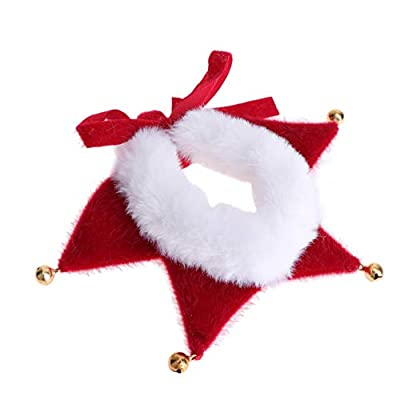 Amosfun Christmas Pet Collar Adjustable Dog Collar with Jingle Bell Decorations Christmas Elf Costume Accessories for Small Dog Cat Puppy Kitten Size S (Pure Color)