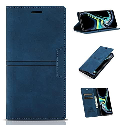 Jtailhne Compatible con Funda Samsung Galaxy J4 Plus, PU Cuero Tipo Cartera Carcasa con Ranura para Tarjetas, a Prueba De Golpes MagnéTico Soporte Azul & 2X Cristal Templado