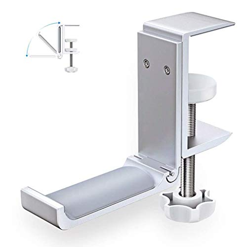 Desk Clamp Foldable Headphone Hook Holder Mount, Aluminum Headset Stand Under Desk, for Universal Headphones PS4 PC Headsets (Silver)
