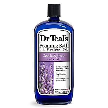 Dr Teal's Foaming Bath with Pure Epsom Salt Soothe & Sleep with Lavender 34 fl oz Purple