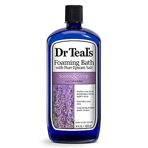 Dr Teal's Foaming Bath with Pure Epsom Salt, Soothe & Sleep with Lavender, 34 fl oz