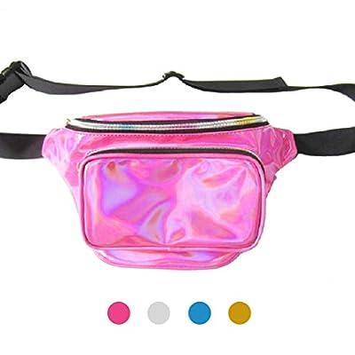 iYoway étanche Brillant Neon Fanny Sac pour Femme Brillant holographique Lot de Fanny Sac Banane Taille Reine Un Sac pour de Nombreuses utilisations
