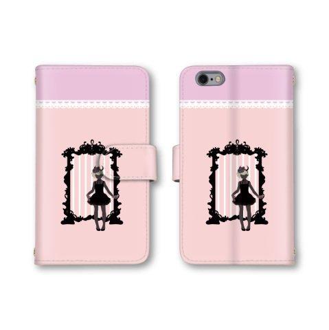 【ノーブランド品】 AQUOS U SHV37 スマホケース 手帳型 女性 シルエット レース 鏡 ピンク かわいい おしゃれ 携帯カバー SHV37 ケース 携帯ケース アクオスU