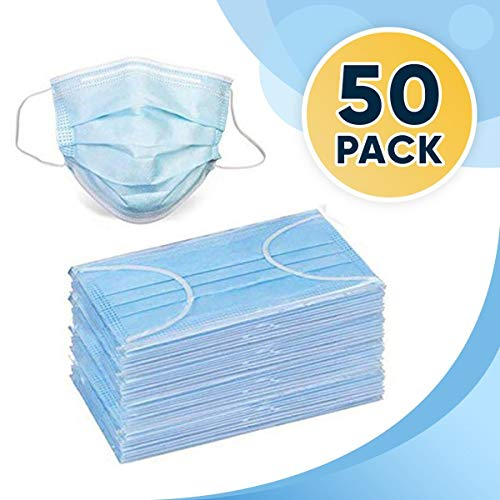 Disposable Earloop Face Mask 3-Ply Safety Mask For Home & Office Pack of 50 - ships F B A