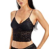 KANILANS Lace Camisole Bralette for Women Halter Deep V Neck Cami Wireless Adjustable Tank Crop Top (Black, X-Large)