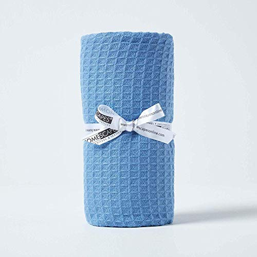 Homescapes Tagesdecke, Bettüberwurf aus 100prozent Bio-Baumwolle, blau, Piqué-Waffeldecke 125 x 150 cm