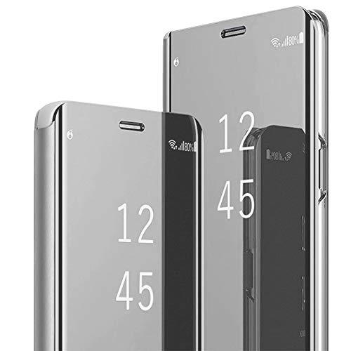 1Anberi, hoes voor Huawei P40 Lite, hoes voor mobiele telefoon, leer, polyurethaan/polycarbonaat, spiegel, doorzichtig, fliphoes, 360 graden, schokbestendig, beschermhoes met standaardfunctie voor Huawei P40 Lite cover, Eén maat, zilver