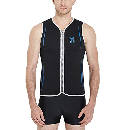 Gyubay Traje de Buceo para Hombre Estiramiento cómodo 3mm Hombres Traje de Neopreno Traje de Chaqueta Corta Superior con la Cremallera en el Pecho Buceo Natación Surf (Color : Black, Size : XXL)