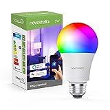 9W LED Lampadina Intelligente E27 con Regolabile Luce Bianca 2700K-6500K+RGBCW, 810lm Novostella WiFi multicolore lampadina Compatibile con il Telefono iOS Android, Lavora con Alexa/Google Home