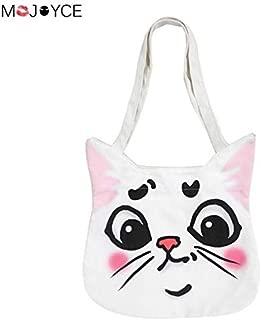 Gimax Top-Handle Bags - Casual Shoulder Bags for Women Cartoon Animal Printed Handbags Casual Shopping Totes Girls Canvas Beach Shoulder Bags - (Color: Cat)