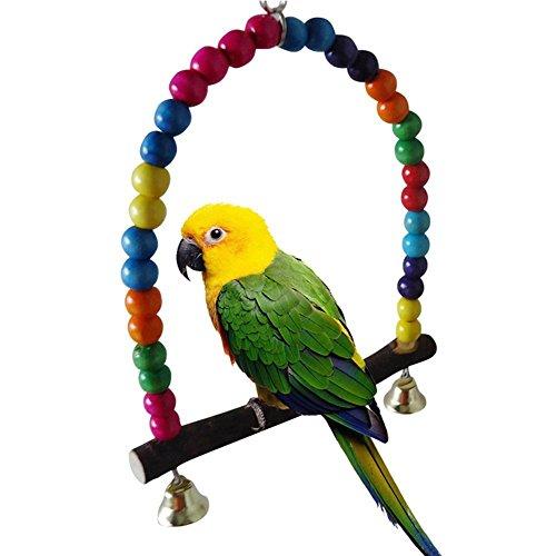 UEETEK Bola de juguete con campanas para colgar para loros periquitos periquitos