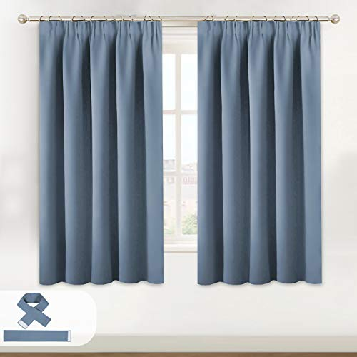 BellaHills Blackout Curtains for Bedroom Thermal Insulated Room Darkening Curtains for Living Room, Pencil Pleat Window Curtain Panels 46 x 54 Inch Stone Blue Two Panels