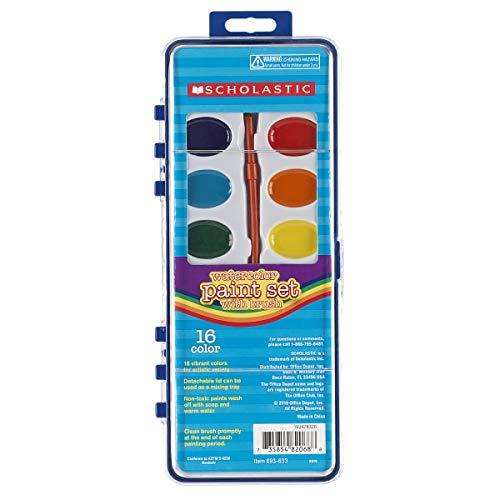 Scholastic 16-Color Watercolor Paint Set with Brush
