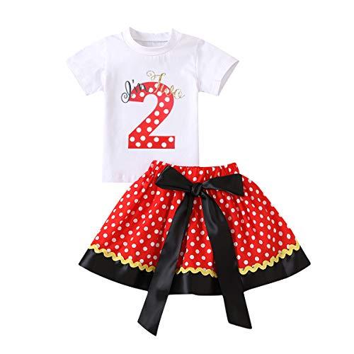 Recién nacido bebé niña 1.2.3.ª fiesta de cumpleaños, traje de manga corta camiseta + falda tutú con lunares + diadema de ratón Princesa Minnie, disfraz de torta, accesorios para fotos Rojo 2 2 Años