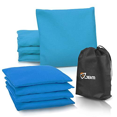 JBM Cornhole Bean Bags (Set of 8) Weather Resistant Duck Canvas Cornhole Bag with Free Portable...