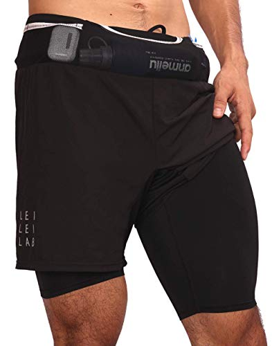 in budget affordable LEILEI LAB Three-in-one 6-pocket running shorts Lightweight and quick-drying sports shorts BK XL…