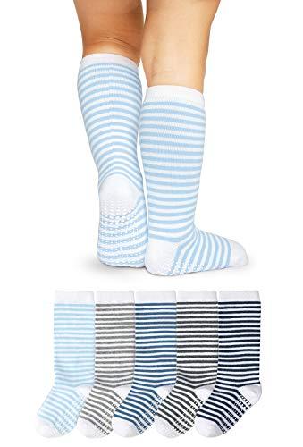 LA Active Calcetines Altos Rodilla Antideslizantes - 5 Pares - para Bebé Niños Niñas Infantil - Algodón (Niños Rayas, 12-36 Meses)