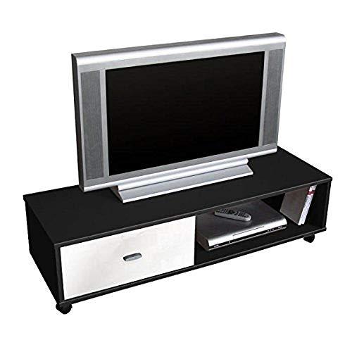 Berlioz Creations Oliver Meuble TV, Noir et Blanc 111 x 38 x 30 cm, Fabrication 100% Française