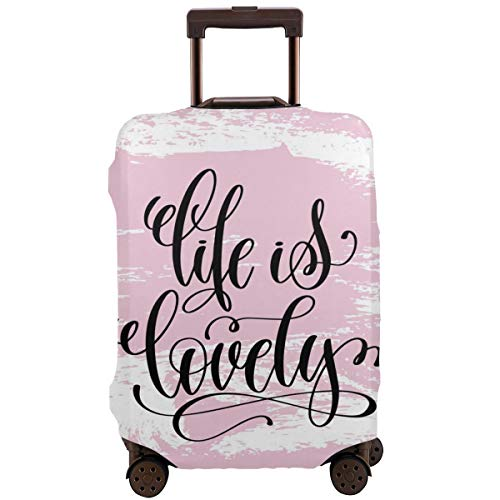 Travel Suitcase Protector,Abstract Pink Toned Brush Strokes Backdrop with Hand Lettering Quote,Suitcase Cover Washable Luggage Cover M