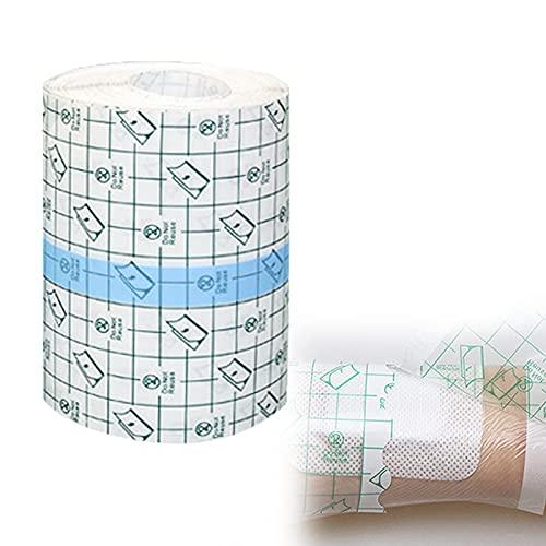 Vendajes Estériles para Heridas, Cinta Adhesiva para Heridas, Cinta Adhesiva Transparente de PU, Cinta de Fijación de Heridas de Primeros Auxilios, para el Cuidado de Heridas (12 cm x 10 m)