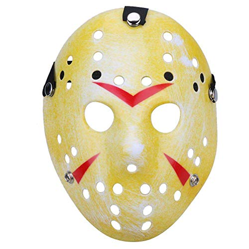 Boolavard Horror Disfraz de Halloween Máscara de Hockey Fiesta Cosplay Atrezzo (Amarillo)