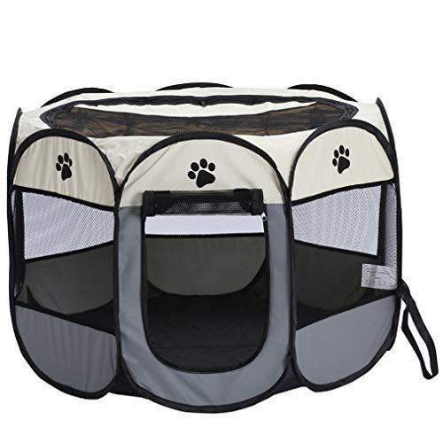 Valla para Mascotas, Perrera para Perros, Valla Plegable, Tela Oxford, Impermeable, Duradera, Tienda para Perrera (Beige + Gris pequeño)