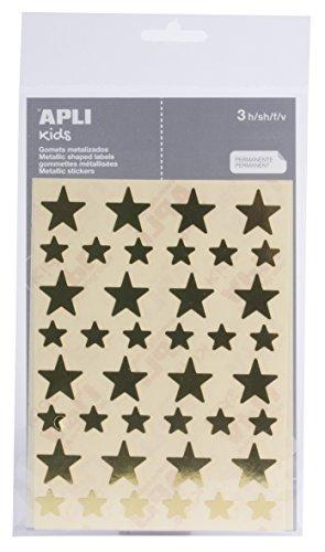APLI–Adesivi Stella Oro, 3fogli Apli