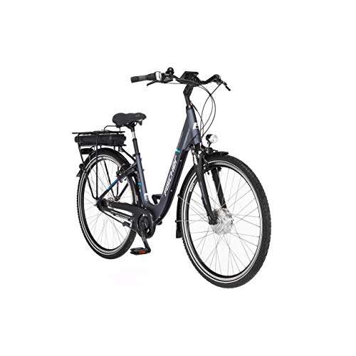 FISCHER E-Bike City ECU 1401, Elektrofahrrad, anthrazit matt, 28 Zoll, RH 44 cm, Frontmotor 25 Nm, 36 V Akku
