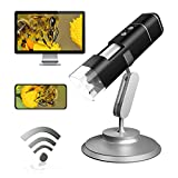 Wireless Digital Microscope 50X-1000X 1080P Handheld Portable Mini WiFi USB Microscope Camera with 8 LED Lights of Android 4.3 & iOS 8.0 Windows Vista/7/8/10 & MacOS X 10.8 or Later