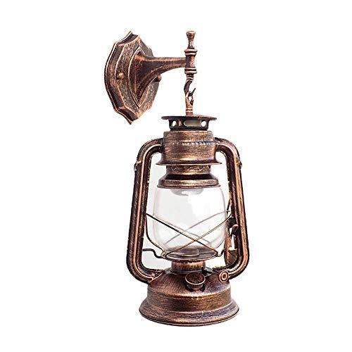 HLWAWA Kreative Schmiedeeisen Laterne Wandleuchte Europäischen Retro Wandleuchte Antike Petroleumlampe Garten Stil Lampe Treppenhaus Gang Lampe Shop Dekoration Lampe (Farbe : Messing)