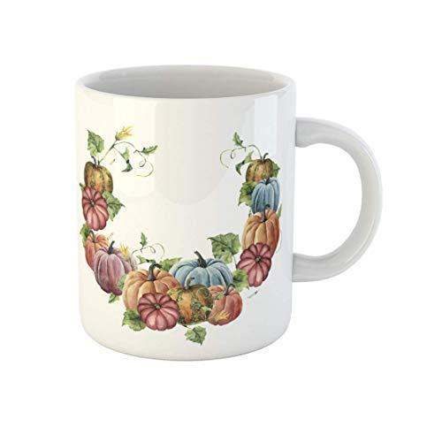 N\A Taza de café Naranja Acuarela Corona de otoño Calabaza Hojas y Flores Brillantes Tazas de cerámica para té de 11 onzas Recuerdo para Familiares, Amigos, compañeros de Trabajo