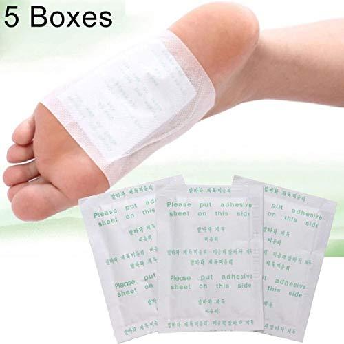 5 boîtes KINOKI Detox Foot Pads Bain de pieds au sel de gingembre et nettoyants (Blanc)