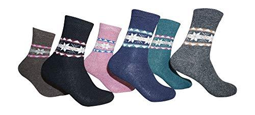 Damen Socken Angora Wollsocken Frauen Thermosocken 6 Paar 35-38 / mehrfarbig 4