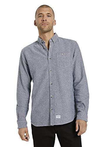 TOM TAILOR Herren Blusen, Shirts & Hemden Fein gemustertes Hemd Navy White Scattered Design,M,25322,6000