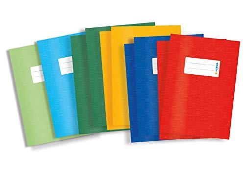 HERMA 19996 Heftumschläge DIN A5 Bast, Hefthüllen mit Beschriftungsetikett und Baststruktur, aus strapazierfähiger und abwischbarer Polypropylen-Folie, 10er Set Heftschoner für Schulhefte, bunt
