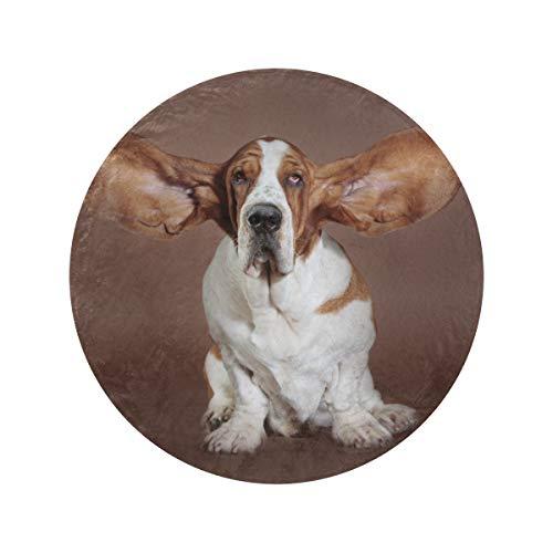 Manta redonda de basset Hound con orejas voladoras para estudio, suave y acogedora, manta redonda de playa, manta de oficina, para casa, cama, sofá de viaje (47 pulgadas/60 pulgadas)