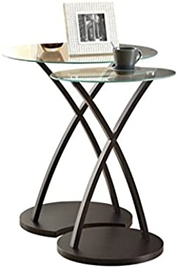 Set of Two Nesting Tables with Tempered Glass Oval Top, Living Room Furniture, Side Tables, End Tables, Coffee Tables, Small
