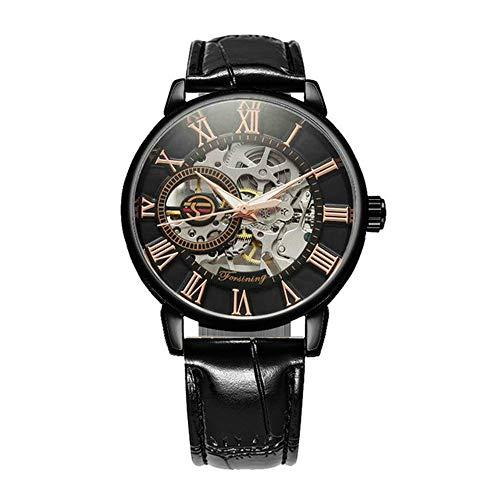 3D Logo Black Gold Men Skeleton Mechanical Watch Hombre Relojes Top Brand Luxury Leather Winner Design Montre Homme 2020