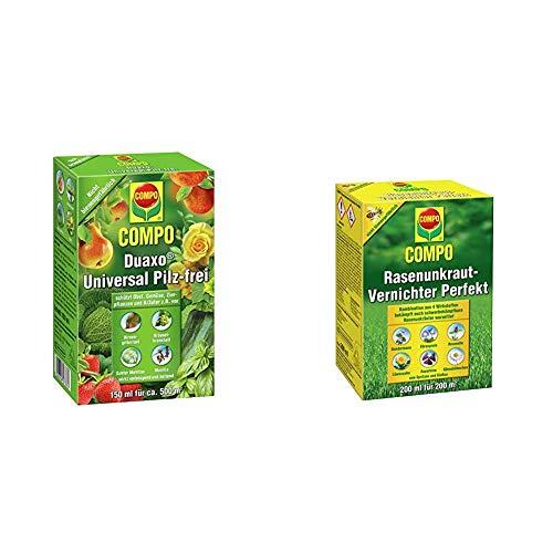 Compo Duaxo Universal Pilz-frei, Bekämpfung von Pilzkrankheiten an Obst, Gemüse und Kräutern, 150 ml & Rasen Unkrautvernichter Perfekt, Vernichtung von schwerbekämpfbaren Unkräutern, 200 ml (200m²)